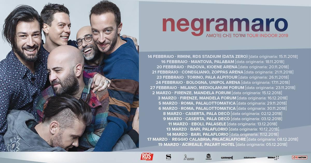 Negramaro in tour!il 2 e 3 marzo al Mandela Forum di Firenze!