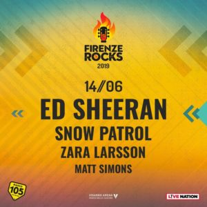 Firenze Rocks: Snow Patrol, Zara Larsson e Matt Simons con Ed Sheeran