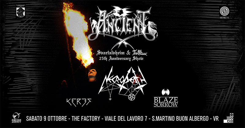 Ancient, Necrodeath, Keres, Blaze Of Sorrow: annunciata una nuova data al The Factory ad ottobre