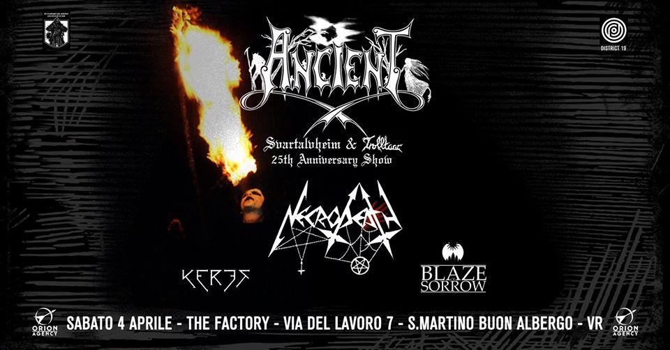 Ancient / Necrodeath / Keres / Blaze of Sorrow live @The Factory sabato 4 Aprile
