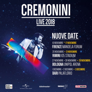 Cremonini in Tour 2018 Nuove date!