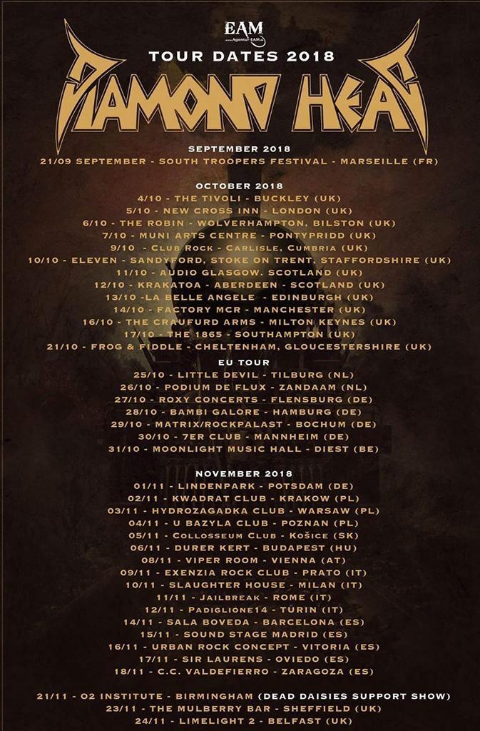 Diamond Head - 4 imperdibili date in Italia a Novembre!