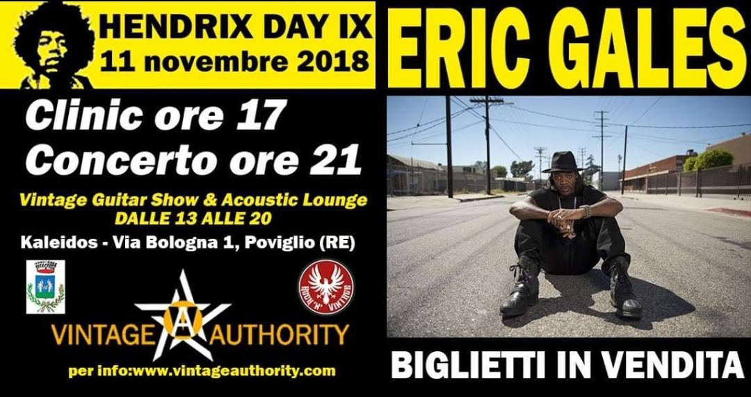 Eric Gales live all' Hendrix Day IX l'11 Novembre a Poviglio (RE)