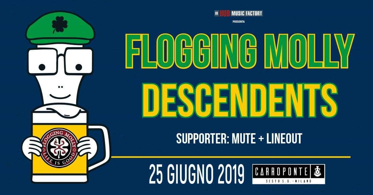 FLOGGING MOLLY + DESCENDENTS: annunciati i supporti dell'unica data italiana