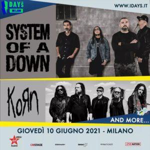 System Of A Down e Korn riconfermati all'edizione 2021 di I-Days