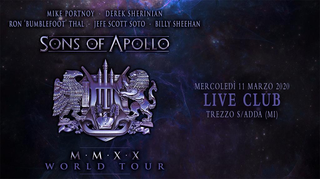 Sons of Apollo: unico show italiano l'11 Marzo 2020 @Live Music Club di Trezzo sull'Adda (MI)
