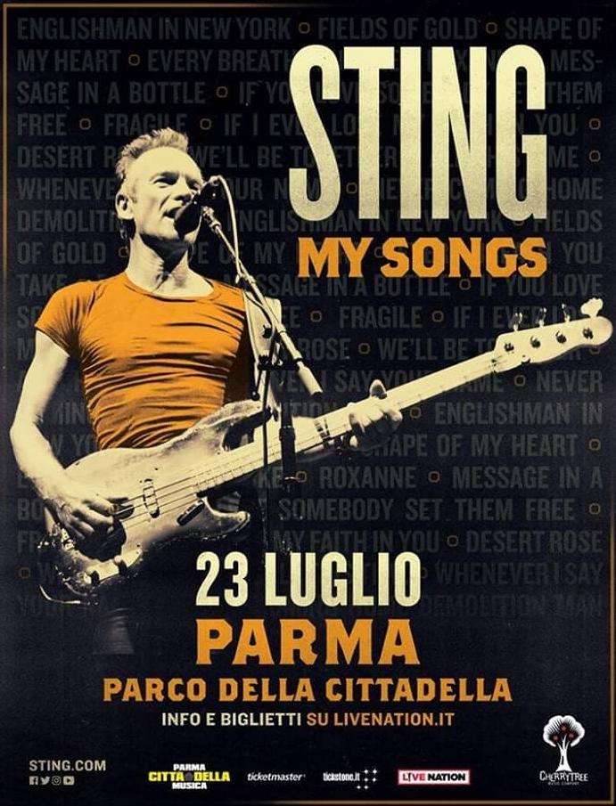 Sting a Parma il 23 Luglio con il My Songs Tour