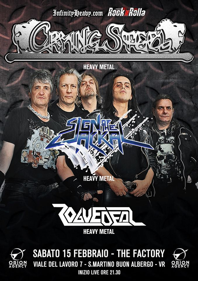 Crying Steel / Sign of the Jackal / Rogue Deal Sabato 15 Febbraio live @The Factory