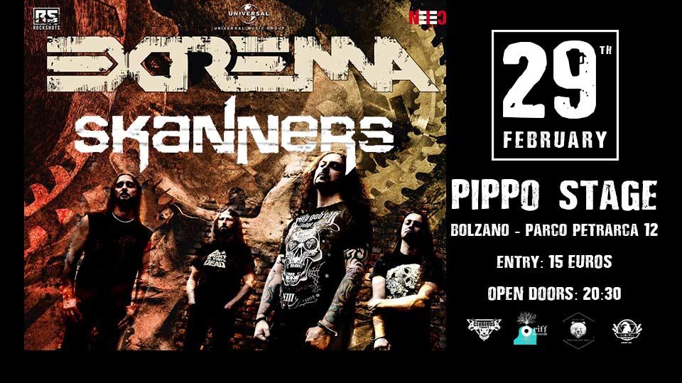 Extrema - Skanners live! @Pippo Foodchillstage Bolzano Sabato 29 febbraio 2020
