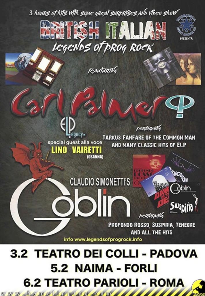 Legends of Prog Rock: Carl Palmer + Claudio Simonetti's Goblin - 3 date a Febbraio 2019!